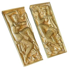 """""""Dance and Music,"""" Gilded Bronze Door Pulls with Nude Female Figures, France"""