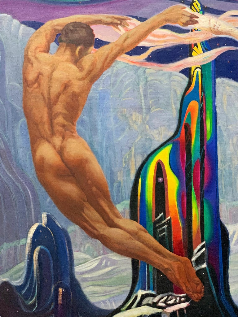Perhaps the most remarkable of all the crystal paintings made by Milton Bond in the 1940s, this depiction of beautiful nude figures, male and female, forming a symmetrical circle around a glowing crystal mountain, is a vivid illustration of Bond's