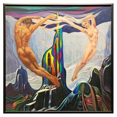 """Dance Around Crystal Mountain,"" Remarkable Art Deco Painting with Nudes, 1945"