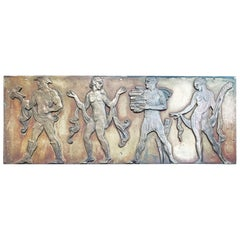 """Dance, Literature, Sculpture, Art,"" Art Deco Frieze W/ Nudes in Silvered Bronze"