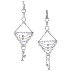 Dancer Chandelier White Diamond Earrings