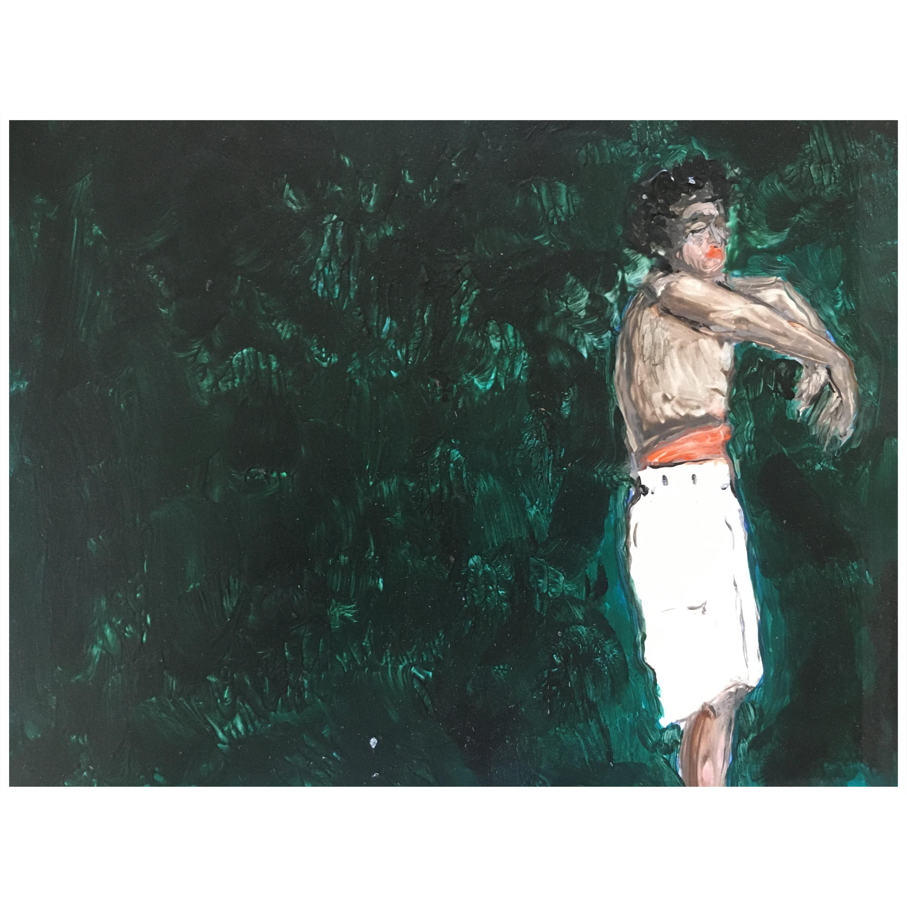 Dancer in Green, Painting on Board