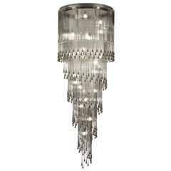 Large Artistic ceiling Lamp Murano Glass Listels and Swarovski by Multiforme