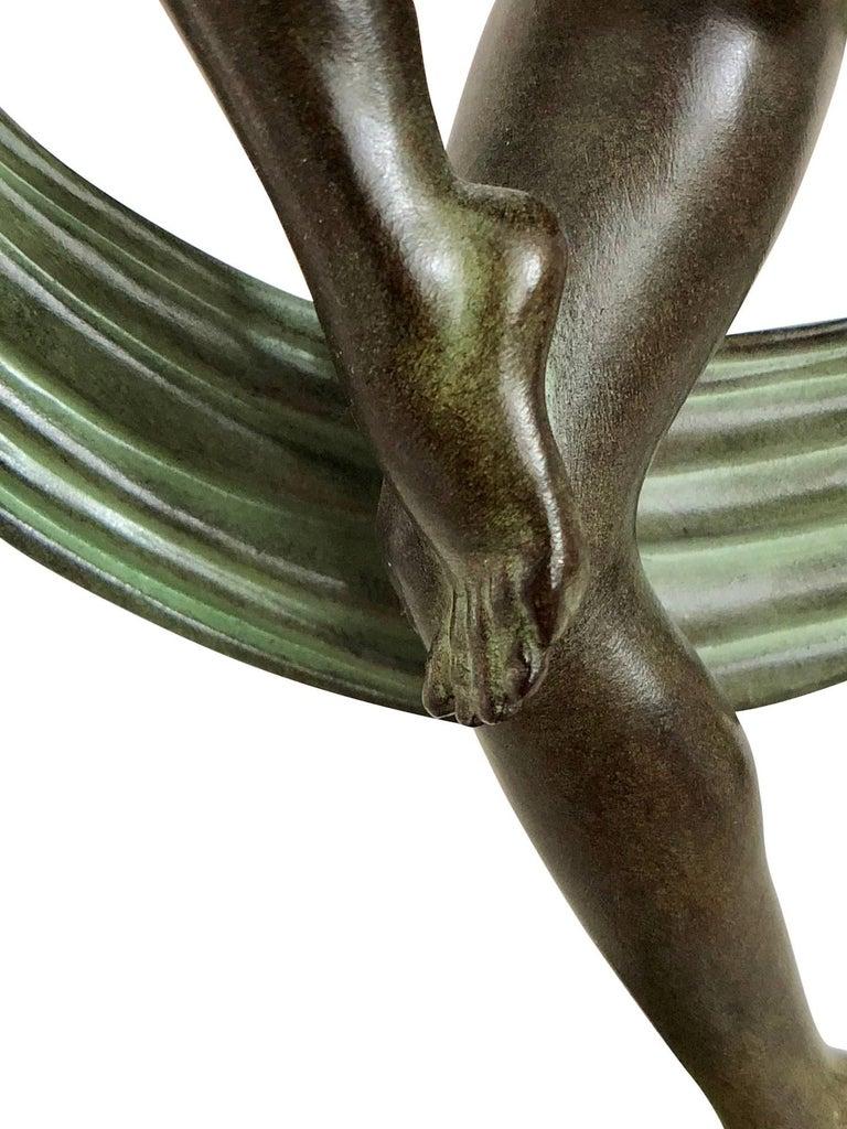 Tänzer Skulptur in Spelter, Folie von Denis, Original Max Le Verrier 3