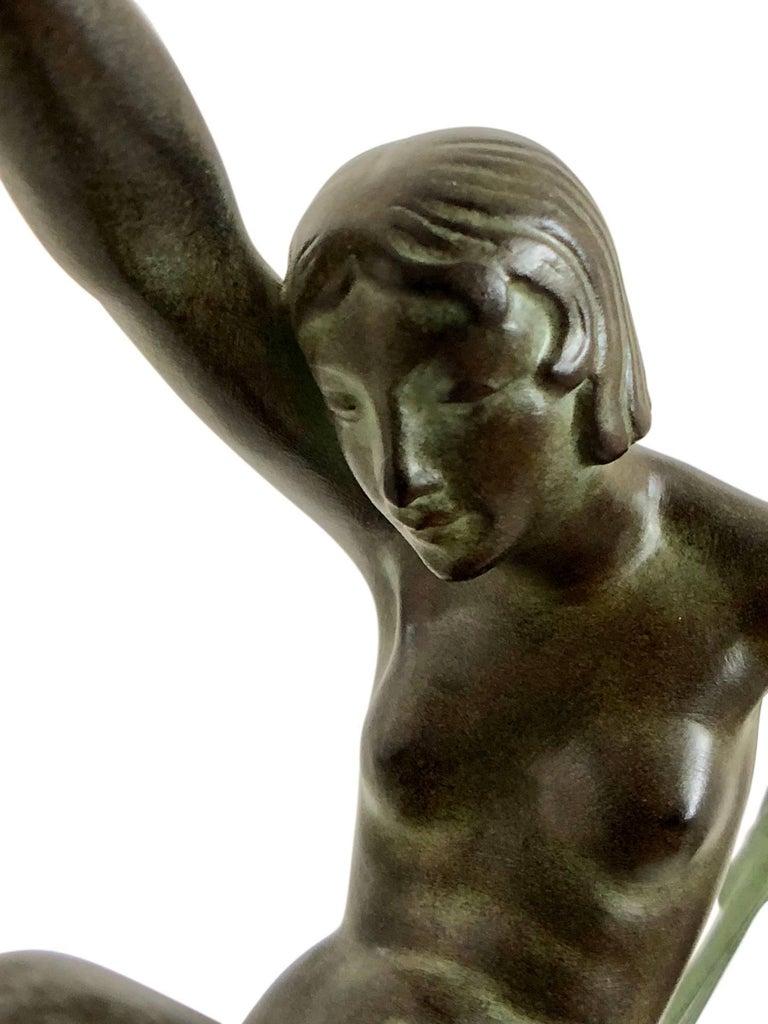 Tänzer Skulptur in Spelter, Folie von Denis, Original Max Le Verrier 4
