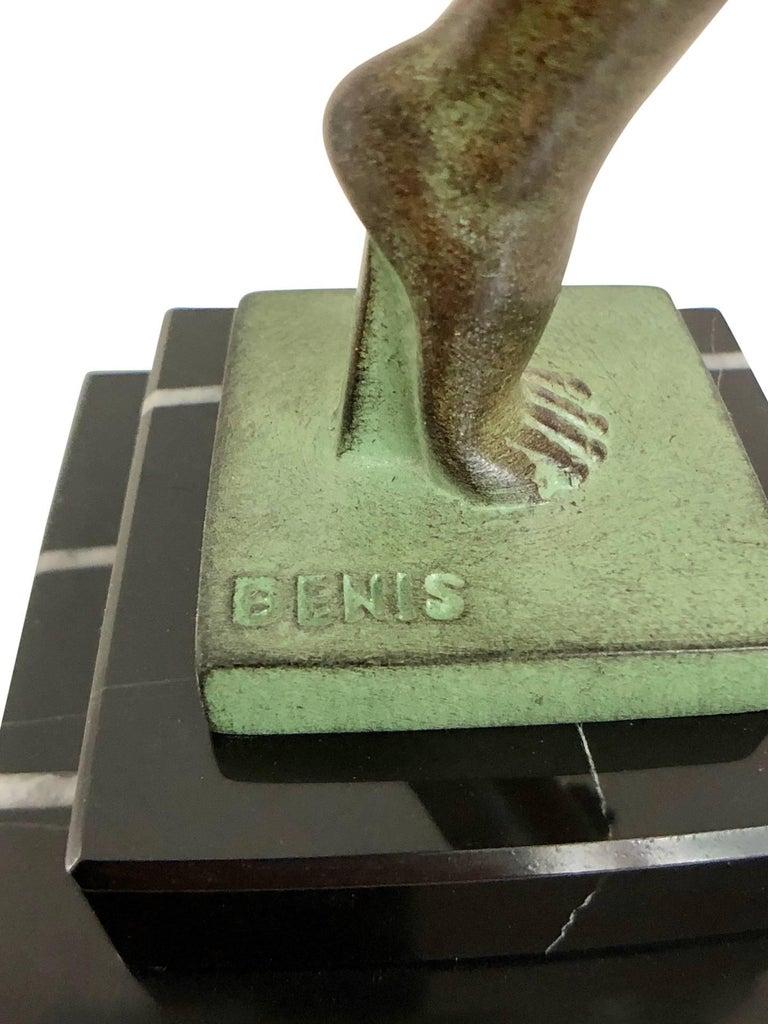Tänzer Skulptur in Spelter, Folie von Denis, Original Max Le Verrier 7
