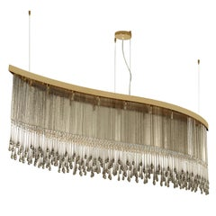Artistic Suspension Lamp grey Murano glass and faceted elements by Multiforme