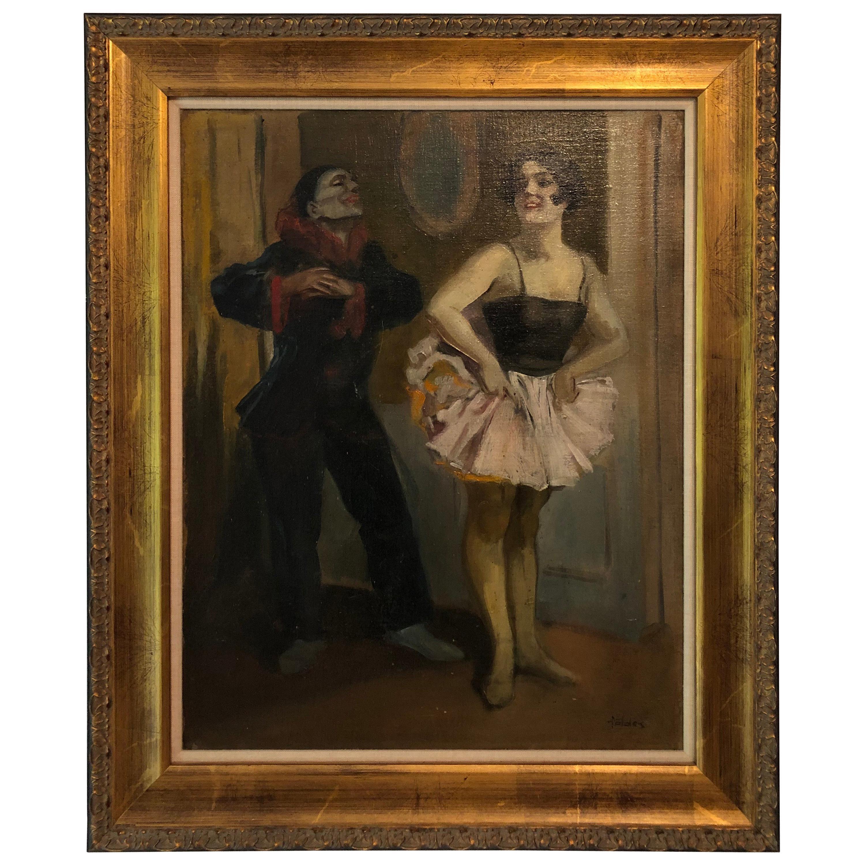 """Dancers"" 20th Century Latin American School Oil on Board"