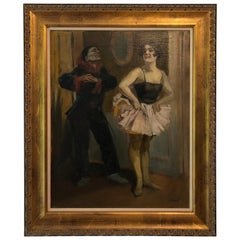 """Dancers"" 20th Century Latin American School Oil on Board"