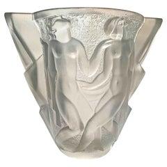 """""""Dancers,"""" Fabulous, Rare High Style Art Deco Vase by Cazaux for Gueron"""