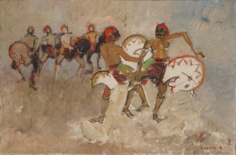 Dancers. Oil on canvas painting with dancing people signed by Bagong Kussudiardja. Indonesia, 1928-2004.   Dimensions including the wooden frame: Width 95 cm. height 70 cm.