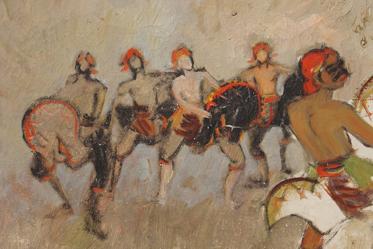 Indonesian Dancers Painting by Bagong Kussudiardja, Indonesia, 1950s For Sale