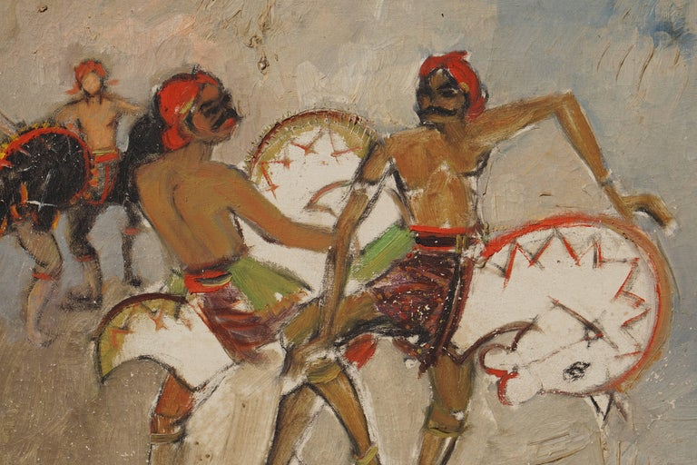 Dancers Painting by Bagong Kussudiardja, Indonesia, 1950s In Good Condition For Sale In Antwerp, BE