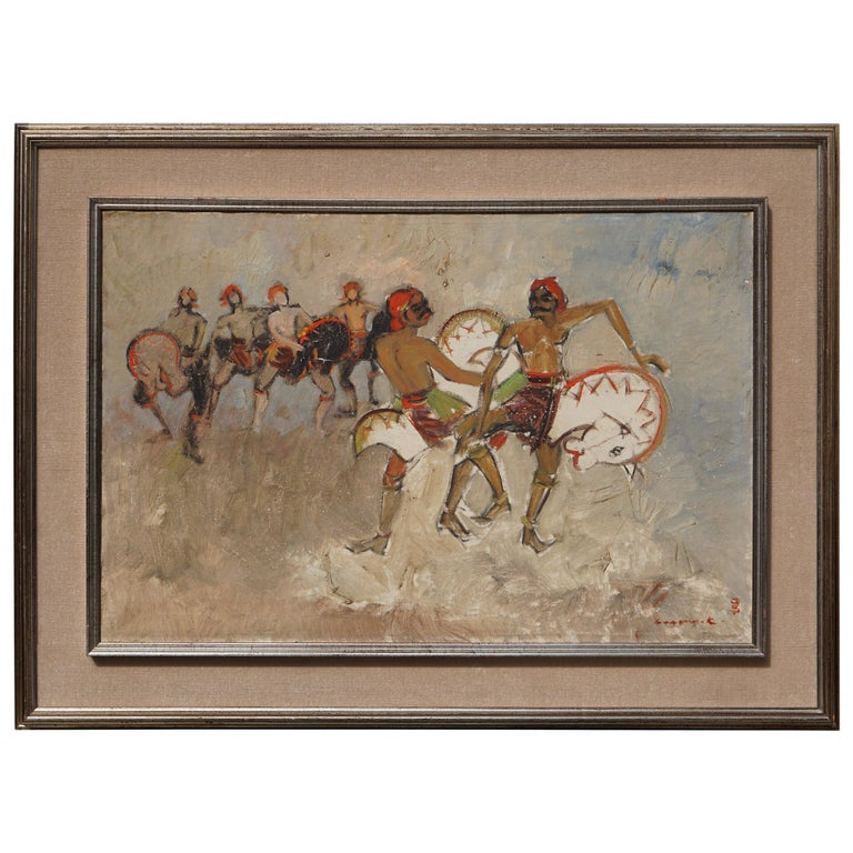 Dancers Painting by Bagong Kussudiardja, Indonesia, 1950s For Sale