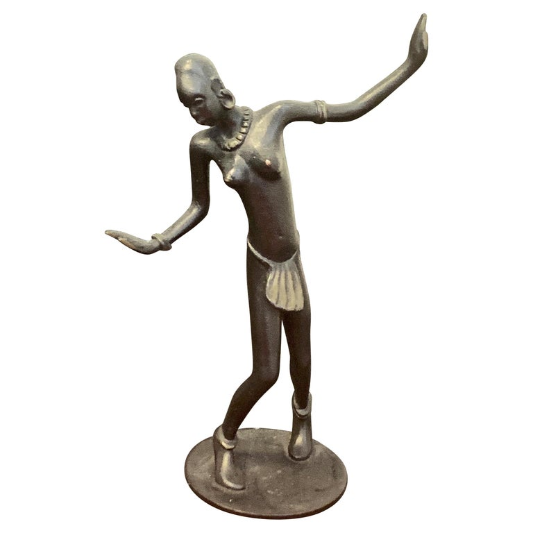 """""""Dancing African,"""" Rare Bronze Art Deco Sculpture by Hagenauer Contemporary For Sale"""