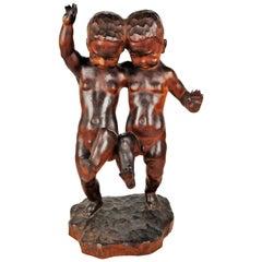 Dancing Boys, Black Forest Art Deco, Hand-Carved Wood Sculpture, 1920s