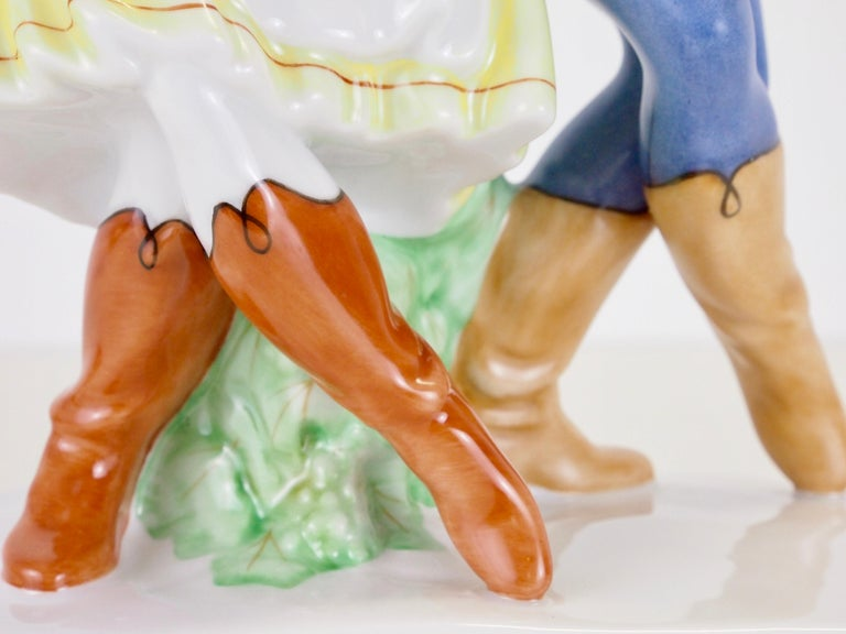 Dancing Couple Porcelain Figurine by Herend Hungary For Sale 4