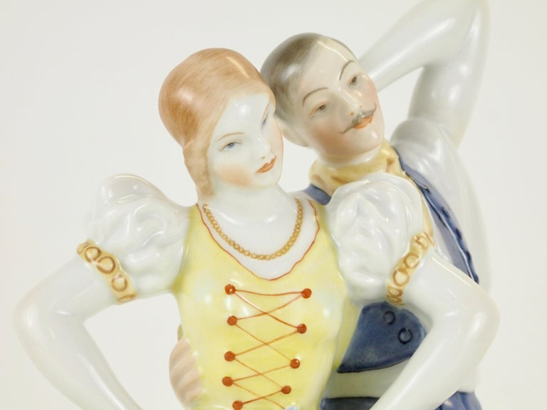 Dancing Couple Porcelain Figurine by Herend Hungary For Sale 5