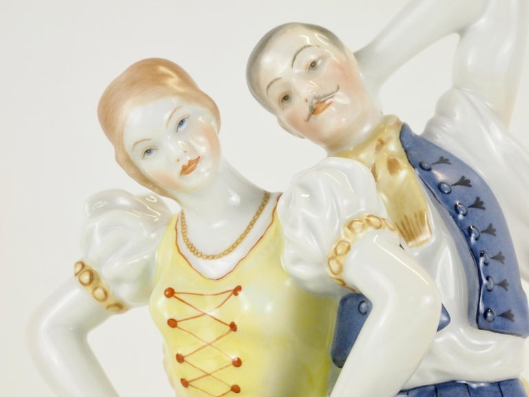 Dancing Couple Porcelain Figurine by Herend Hungary For Sale 6