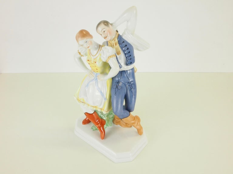 Dancing Couple Porcelain Figurine by Herend Hungary For Sale 9