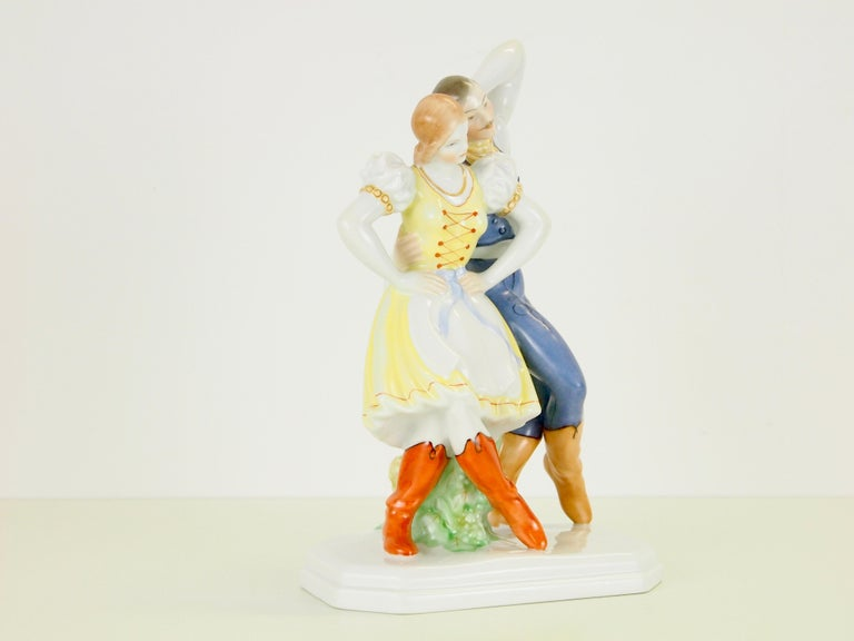 Romantic Dancing Couple Porcelain Figurine by Herend Hungary For Sale