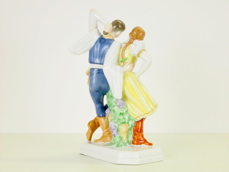 Hungarian Dancing Couple Porcelain Figurine by Herend Hungary For Sale