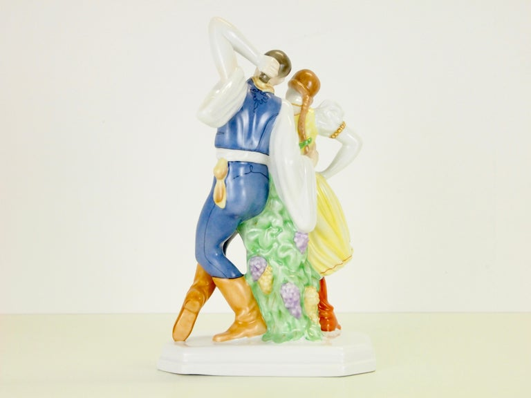 Hand-Painted Dancing Couple Porcelain Figurine by Herend Hungary For Sale