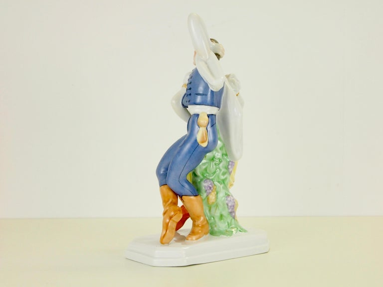 Dancing Couple Porcelain Figurine by Herend Hungary In Good Condition For Sale In Hilversum, Noord Holland