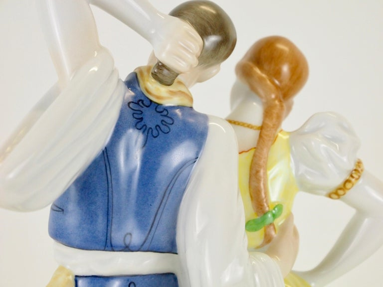 Dancing Couple Porcelain Figurine by Herend Hungary For Sale 1