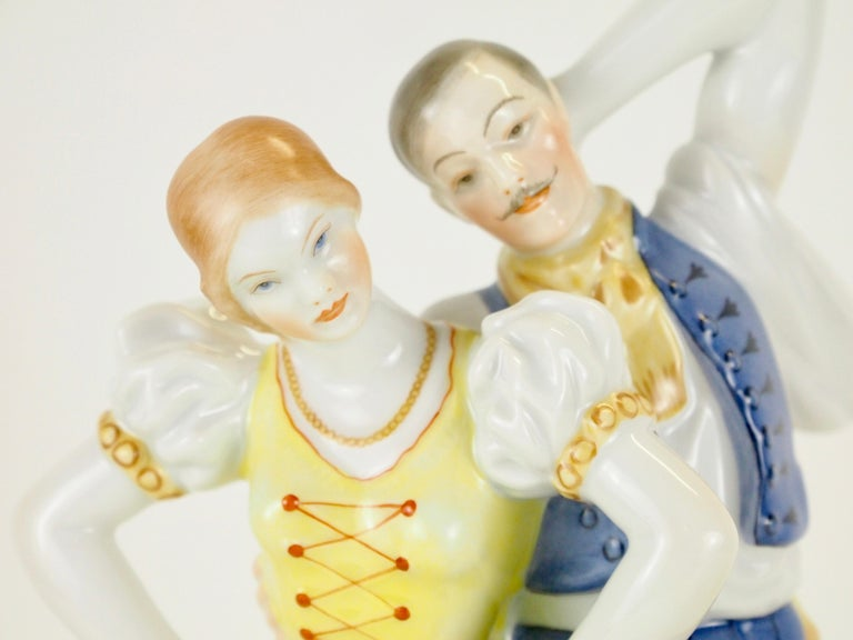 Dancing Couple Porcelain Figurine by Herend Hungary For Sale 2