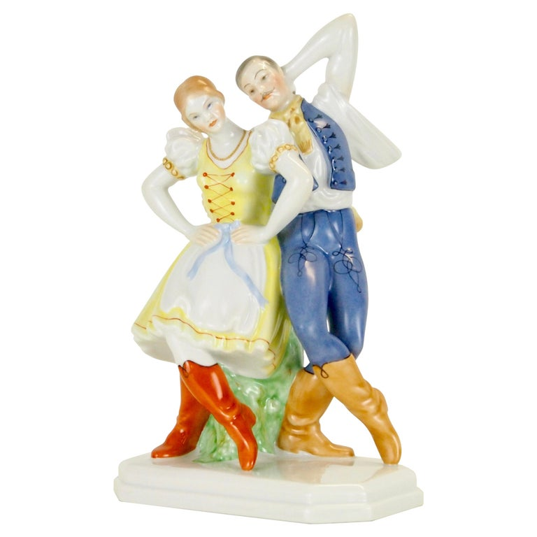Dancing Couple Porcelain Figurine by Herend Hungary For Sale