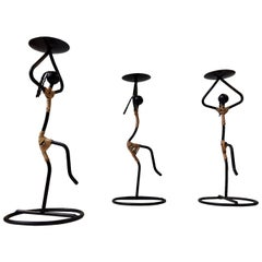 Dancing Danish Modernist String Candleholders by Laurids Lonborg