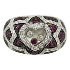 Dancing Diamond & Ruby Gold Heart Ring