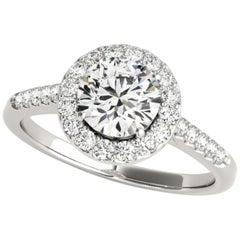 Dancing Diamonds Halo Accented GIA Certified Round Brilliant Engagement Ring