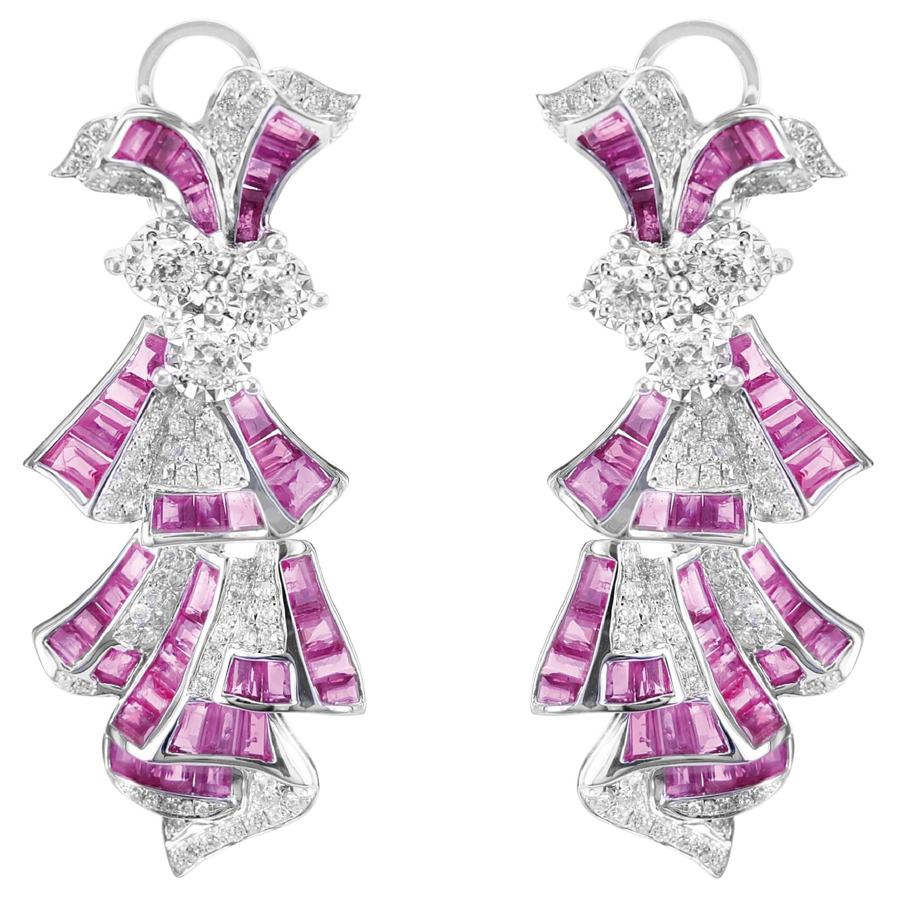 Dancing Doll Art Deco Style Vivid Red Ruby and Diamond Dangle Earring