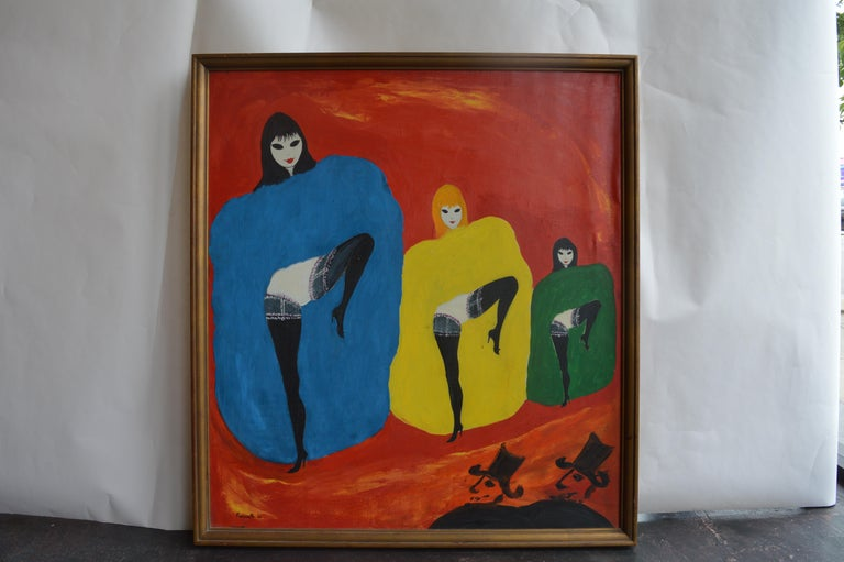 French Dancing Girls by Nicola Ortis Poucette For Sale
