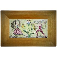 Dancing in The Garden Folk Art Ceramic Panel, 1954