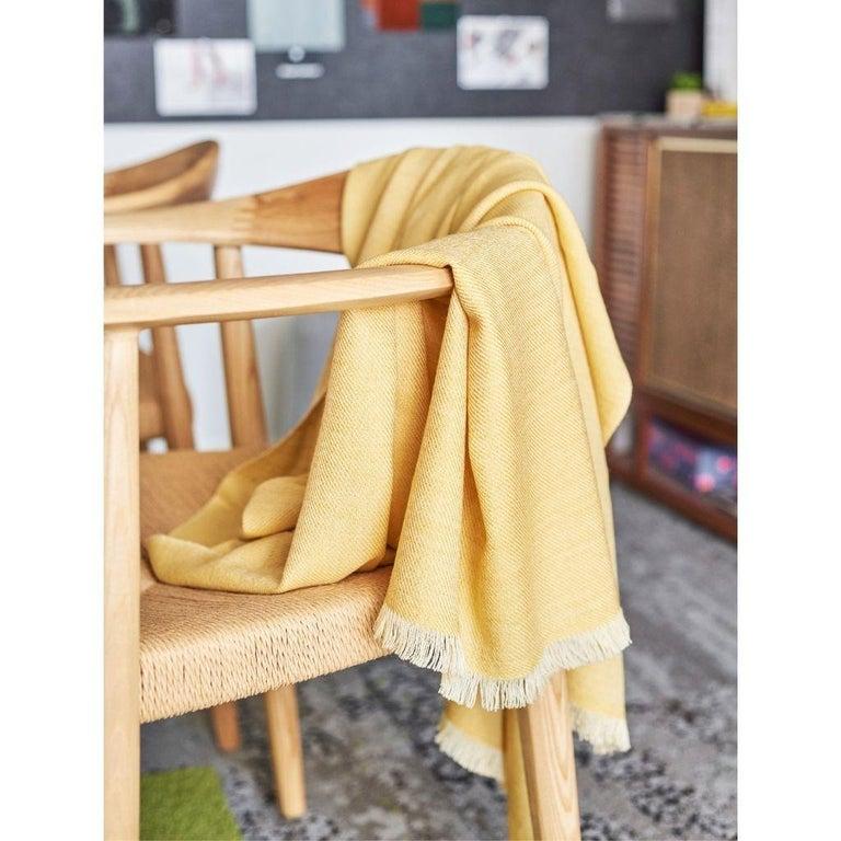 Modern Dandelion Handloom Throw / Blanket in Soft Yellow Shade in Merino Twill Weave For Sale