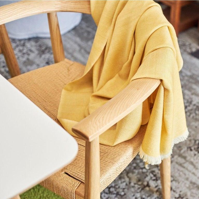 Yarn Dandelion Handloom Throw / Blanket in Soft Yellow Shade in Merino Twill Weave For Sale
