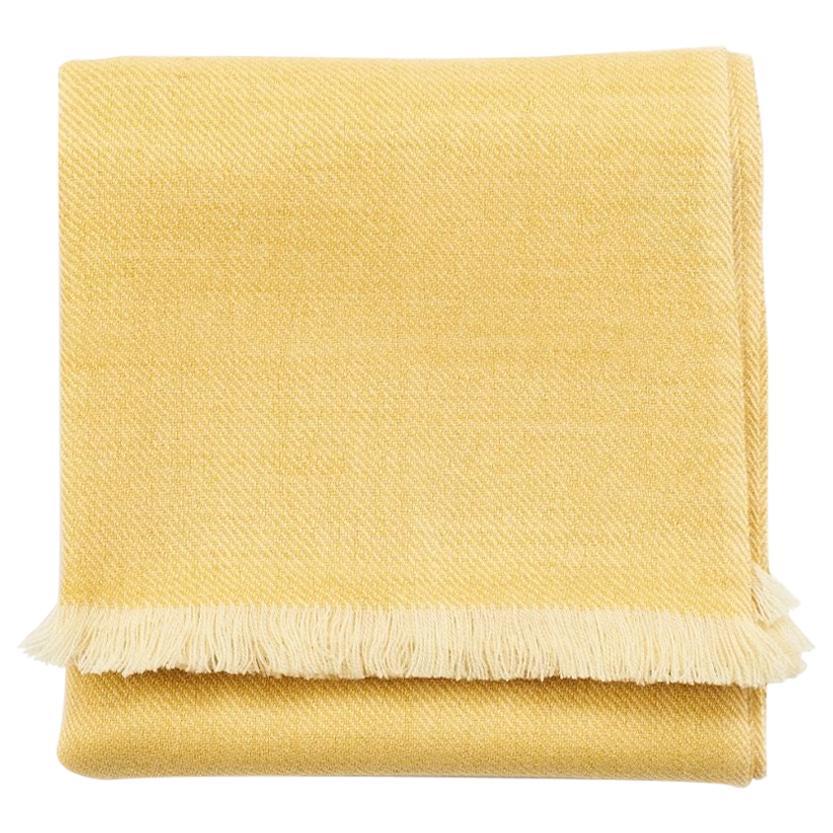 Dandelion Handloom Throw / Blanket in Soft Yellow Shade in Merino Twill Weave