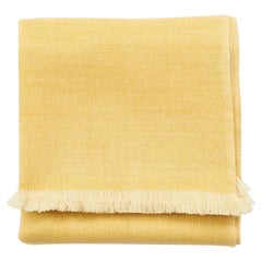 Dandelion Handloom Throw / Blanket in Soft Yellow Shade in Merino Twill Weave