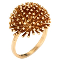 Dandelion Ring Vintage 18k Yellow Gold Round Dome Estate Cocktail Jewelry