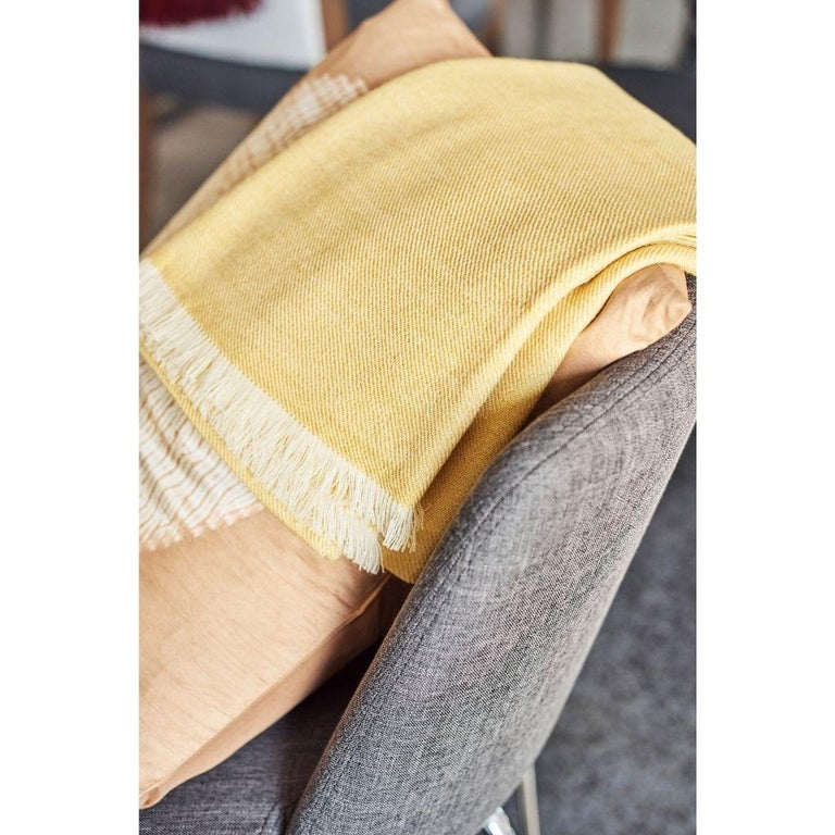 Contemporary Dandelion Yellow Shade King Size Bedspread / Coverlet Handwoven in Soft Merino For Sale