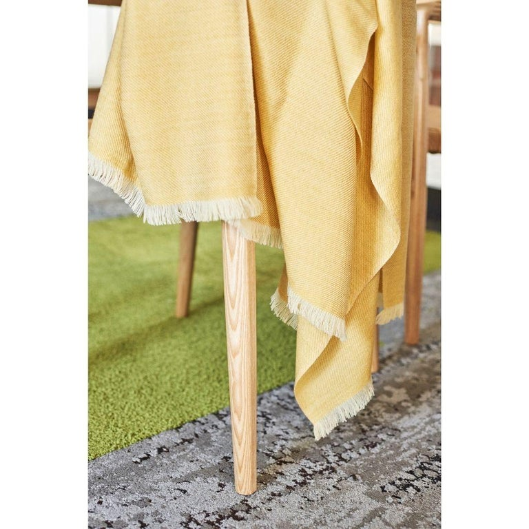 Yarn Dandelion Yellow Shade King Size Bedspread / Coverlet Handwoven in Soft Merino For Sale
