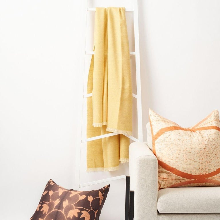 Custom design by Studio Variously, Dandelion is a Queensize bedspread + coverlet handwoven ethically by master weavers in Nepal and dyed entirely with earth friendly dyes in soft 100% merino yarn from Australia.  Dandelion has the quintessential