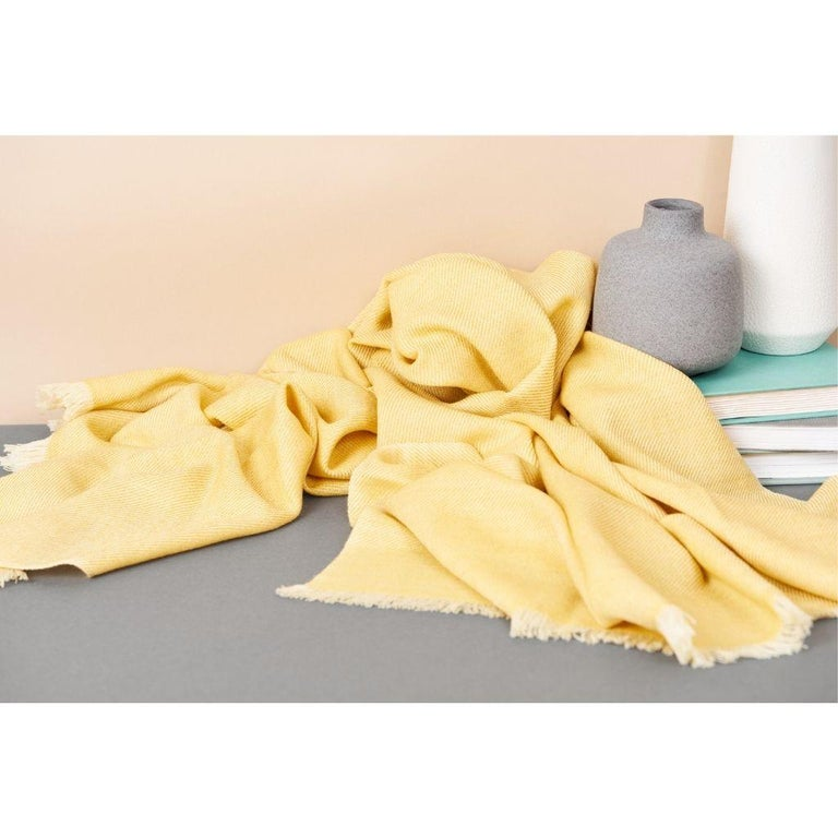 Nepalese Dandelion Yellow Shade Queen Size Bedspread / Coverlet Handwoven in Soft Merino For Sale