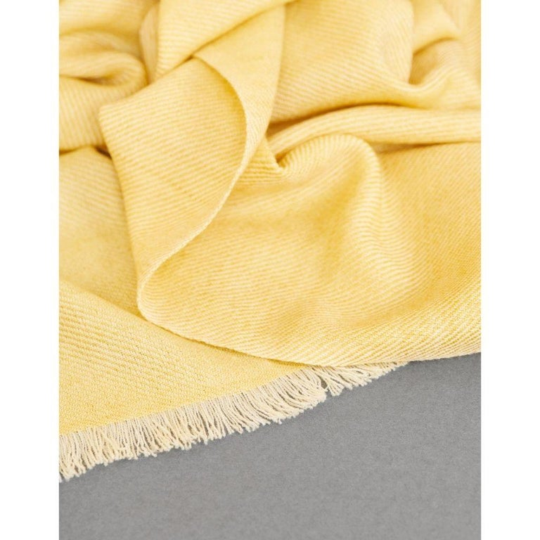 Hand-Woven Dandelion Yellow Shade Queen Size Bedspread / Coverlet Handwoven in Soft Merino For Sale
