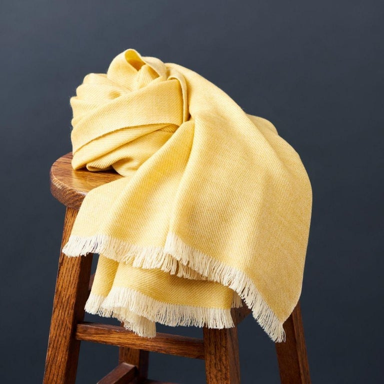 Dandelion Yellow Shade Queen Size Bedspread / Coverlet Handwoven in Soft Merino In New Condition For Sale In Bloomfield Hills, MI