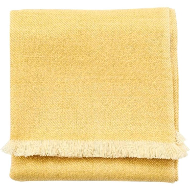 Dandelion Yellow Shade Queen Size Bedspread / Coverlet Handwoven in Soft Merino For Sale