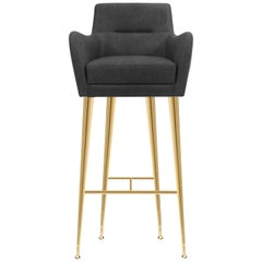 Dandridge Bar Chair in Charcoal Gray